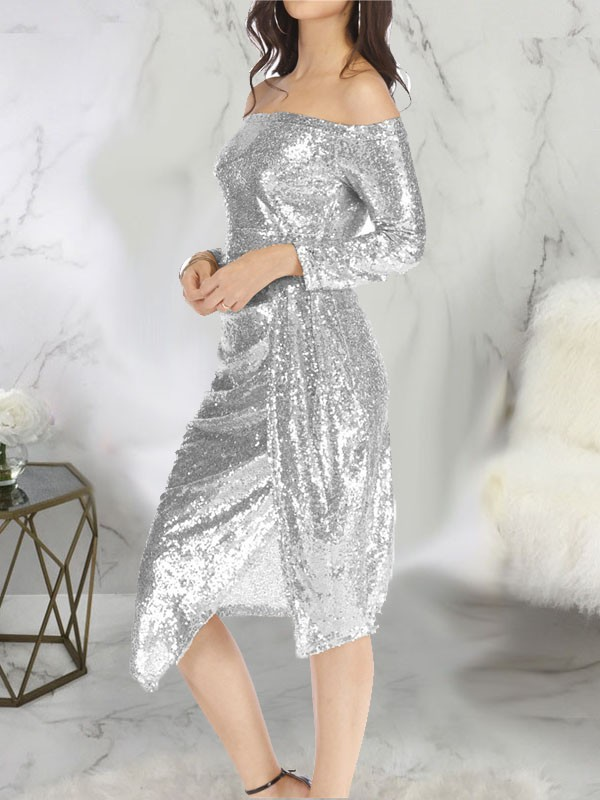 73537d28 Silver Patchwork Sequin Side Slits Off Shoulder Long Sleeve Sparkly Glitter  New Year's Eve Midi Dress - Midi Dresses - Dresses