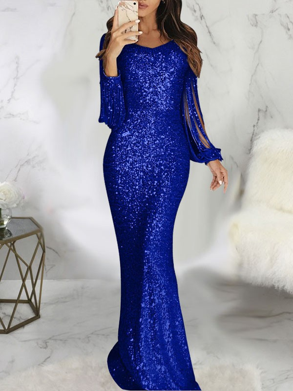 Blue Patchwork Sequin Tassel Bodycon Mermaid V Neck Butterfly Sleeve Sparkly Glitter Wedding Gowns Party Maxi Dress