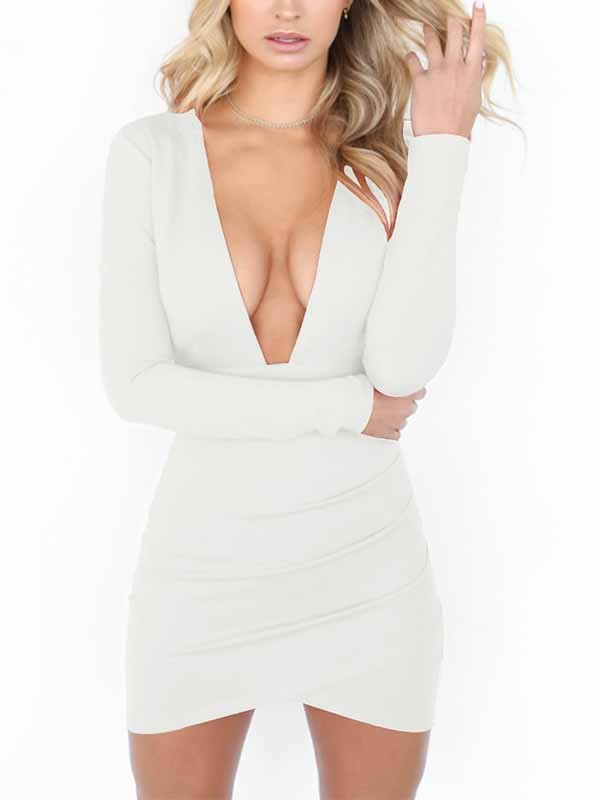 0e1c8477f65 White Cut Out Bodycon Deep V-neck Long Sleeve Streetwear Mini Dress - Mini  Dresses - Dresses