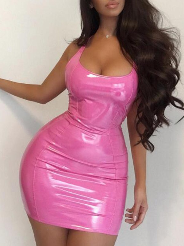 bf5e8ec0ebe Pink Deep V-neck Sleeveless PU Leather Backless Bodycon Latex Rubber Mini  Dress - Mini Dresses - Dresses