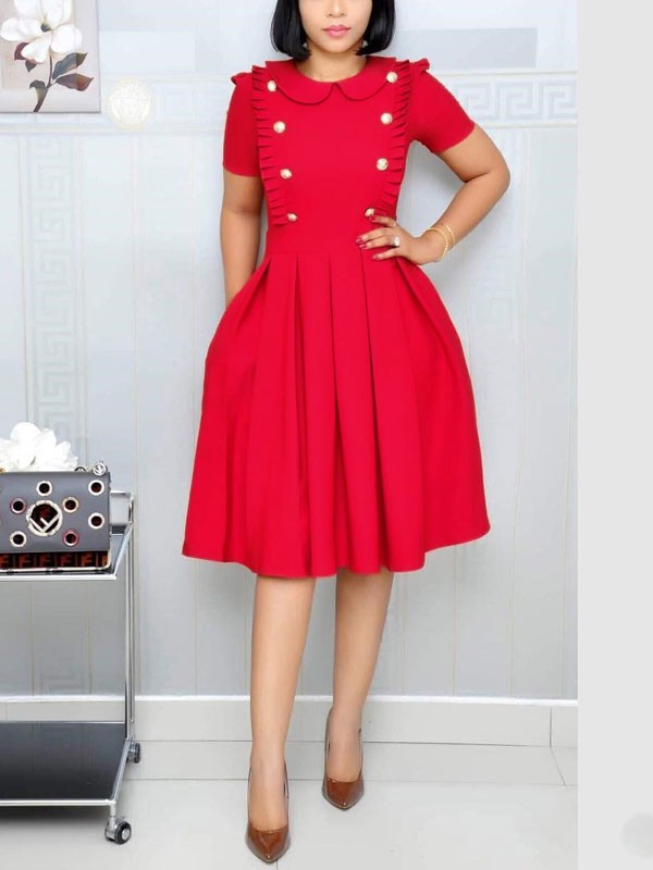07c272e221 Red Buttons Ruffle Pockets Pleated Long Sleeve OL Elegant Party Maxi Dress  - Maxi Dresses - Dresses