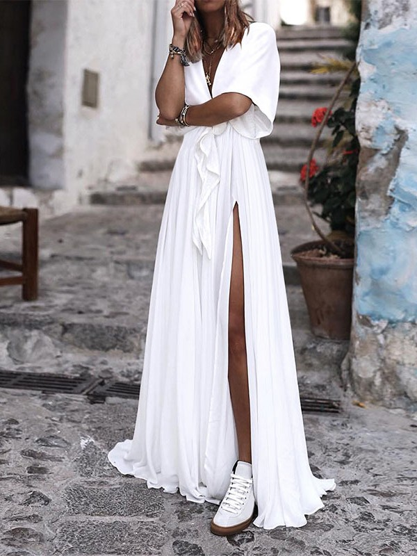 68ad29e5e919da White Dreaped Slit Belt Deep V-neck Short Sleeve Boho Beach Elegant Maxi  Dress - Maxi Dresses - Dresses