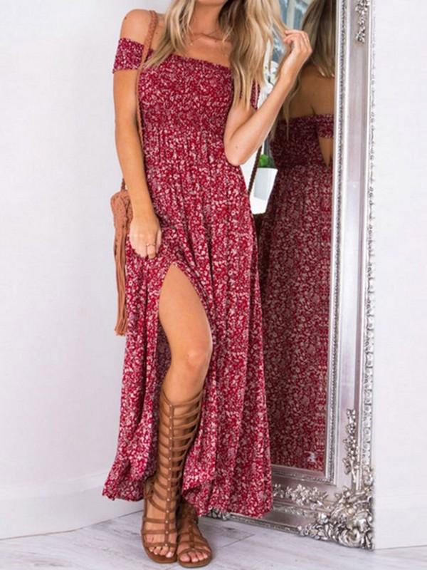 e6c1a6bd5edb Red Floral Print Draped Slit Off Shoulder Backless Short Sleeve Bohemian  Maxi Dress - Maxi Dresses - Dresses