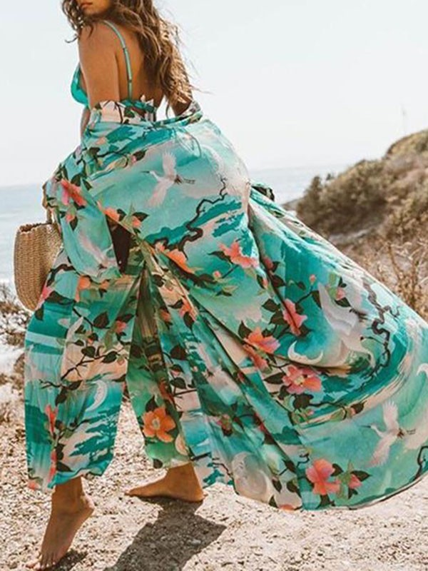 b59f0e789e Green Crane Floral Print Sashes V-neck Short Sleeve Big Swing Sunscreen  Beach Cover Up Maxi Dress - Maxi Dresses - Dresses