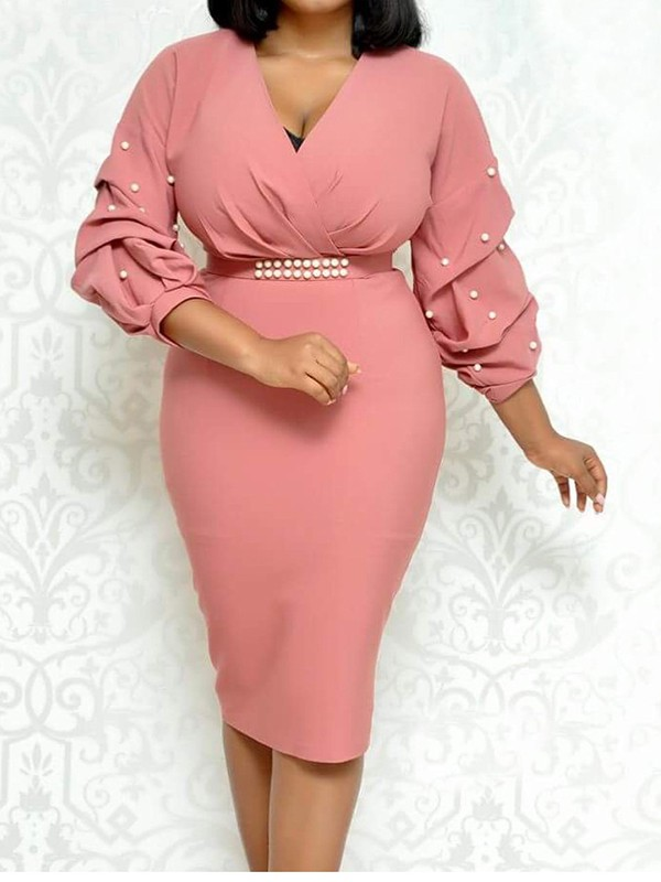 Pink Belt Ruffle Pearl V-neck Plus Size Bodycon Elegant Formal Porm Party  Midi Dress