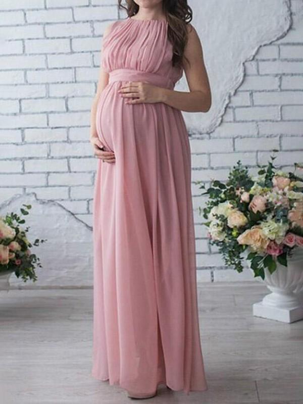 7558c6a777922 Pink Draped Sashes Chiffon Round Neck Sleeveless Elegant Maternity Dress - Maternity  Dresses - Women's Maternity