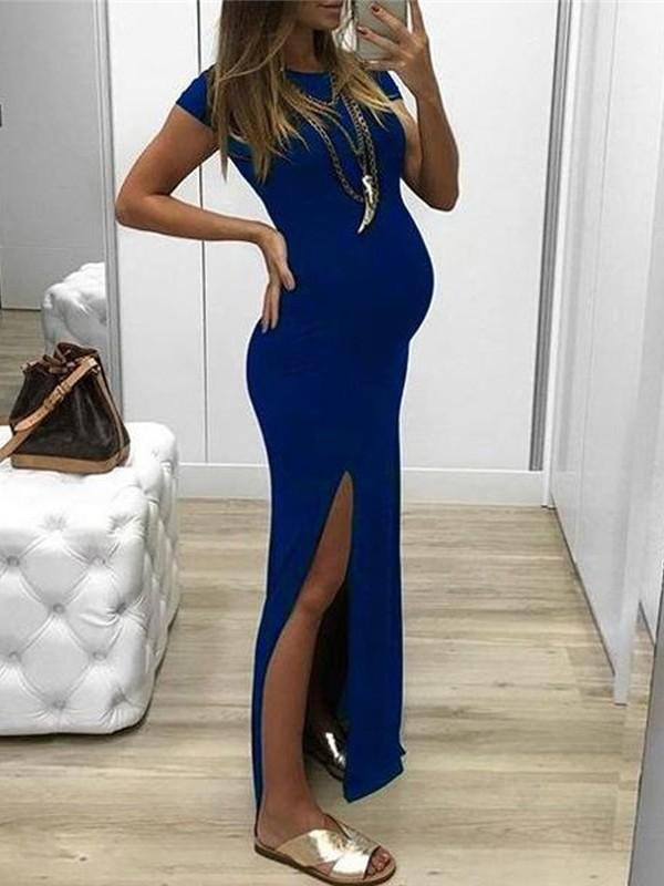 08804a359e9 Sapphire Blue Side Slit Bodycon Round Neck Short Sleeve Elegant Maternity  Dress - Maternity Dresses - Women s Maternity