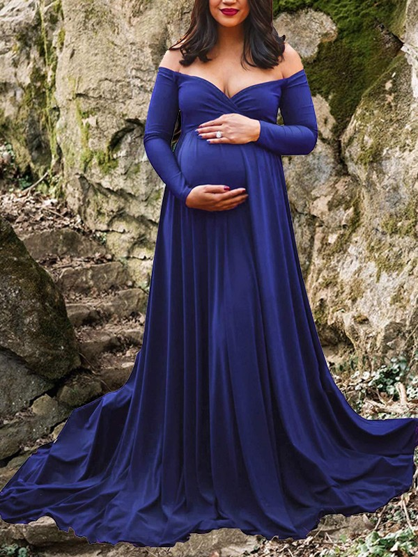 new cheap huge selection of exclusive shoes Royal Blue Pleated Big Swing Off Shoulder Long Sleeve Elegant Babyshower  Maternity Maxi Dress