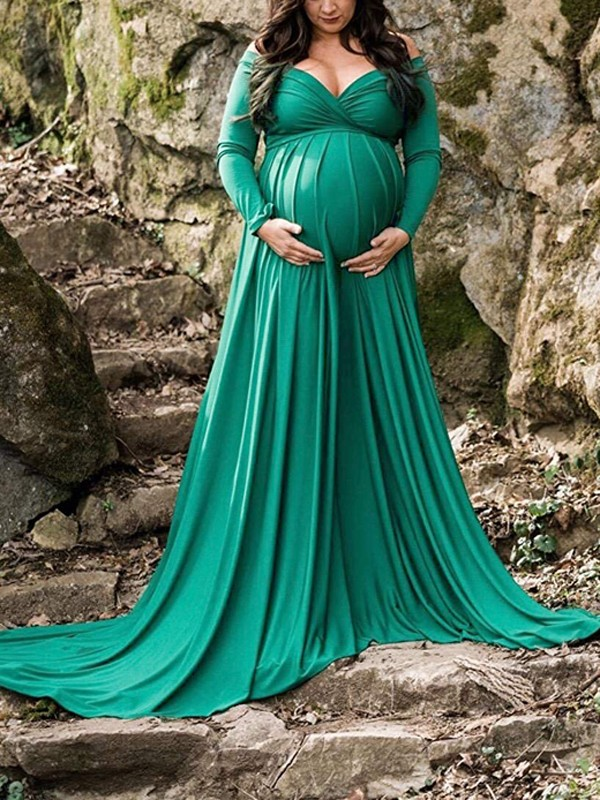 6b48cf0778dbb Green Pleated Off Shoulder Long Sleeve Baby shower Maternity Maxi Dress