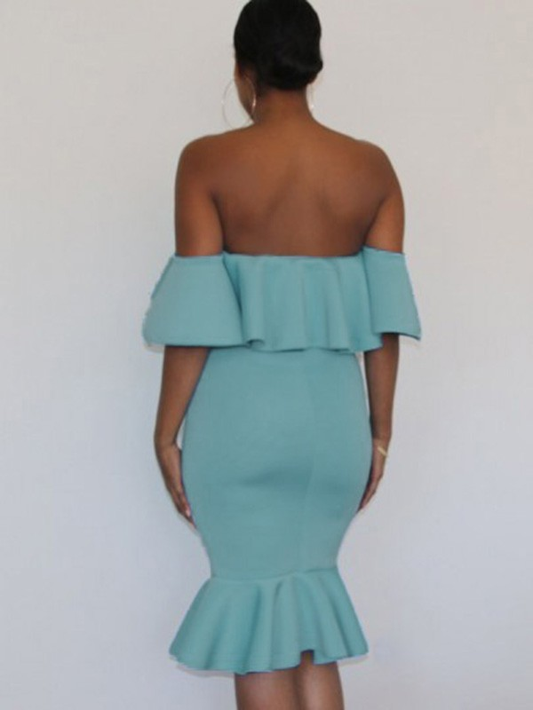 043723b848b Light Blue Off Shoulder Ruffle Bodycon Mermaid Maternity For Babyshowes  Maxi Dress