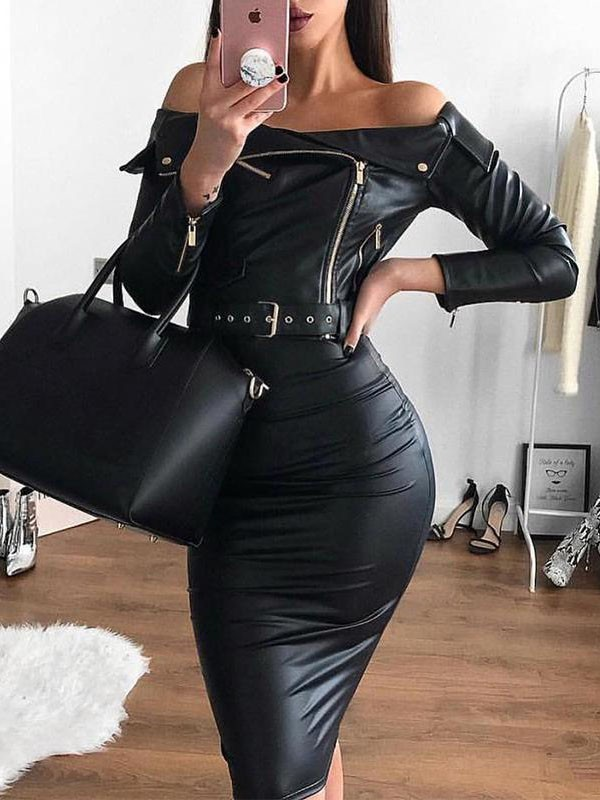 65fcfad330a8 Black Off Shoulder Zipper Buttons Belt Bodycon PU Leather Long Sleeve Party Midi  Dress - Midi Dresses - Dresses