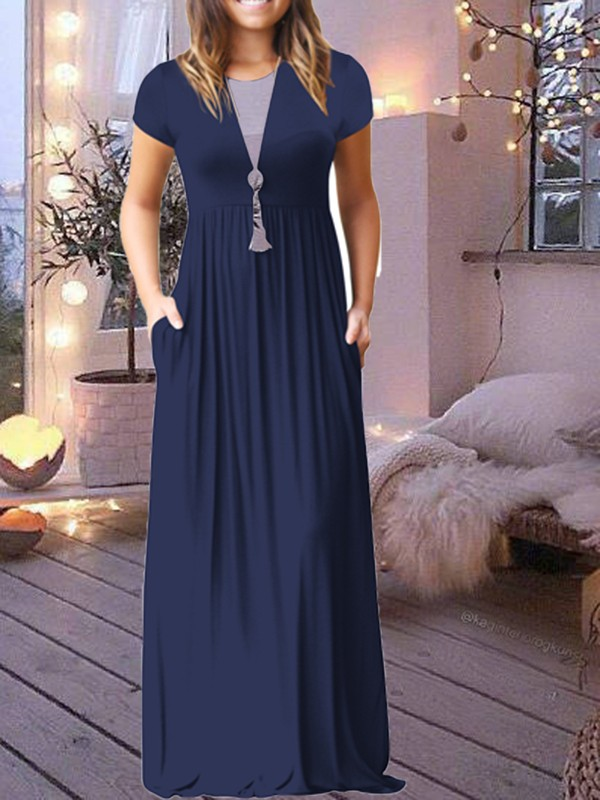 fcb9ae83752e Dark Blue Pockets Short Sleeve Round Neck Loose Casual Ladies Maxi Dress