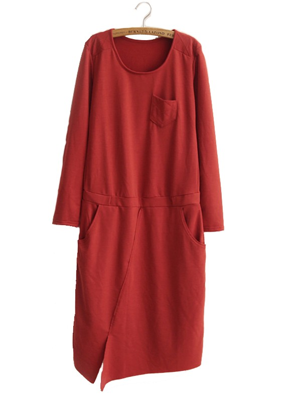 dec9a44cad42 Red Swallowtail Pockets Long Sleeve Wrap Cotton Dress - Maxi Dresses -  Dresses