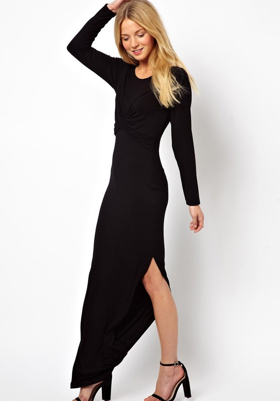 Black Plain Ruffle Floor Length Skinny Cotton Dress