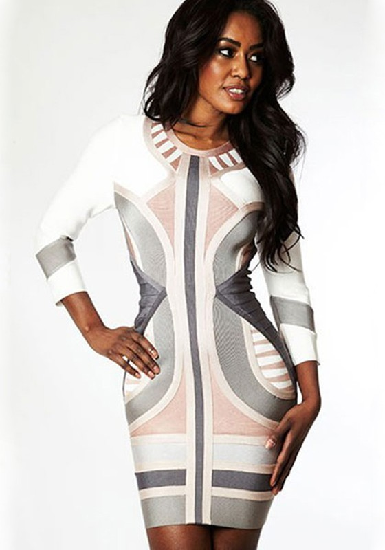 White spandex dresses with sleeves