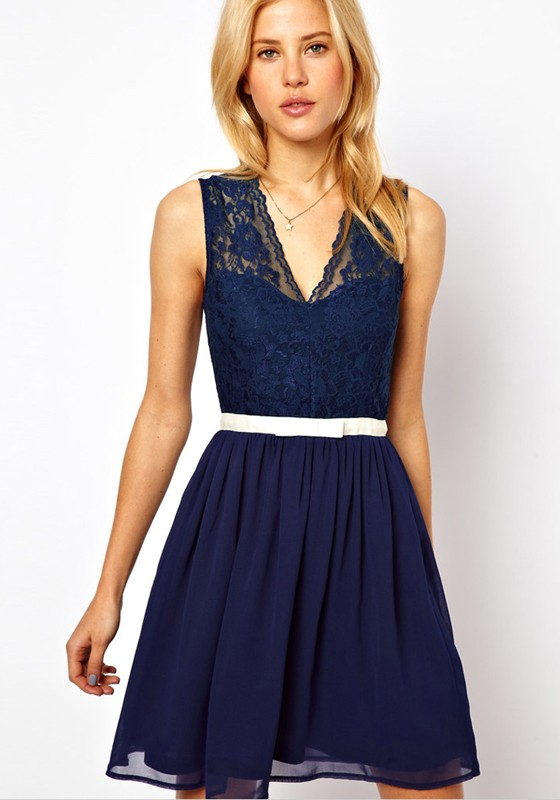 Navy Blue Plain Lace Above Knee Chiffon Dress - Sundresses - Dresses