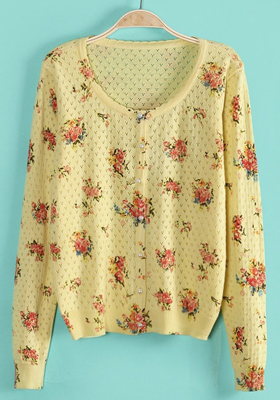 Light Yellow Floral Hollow-out V-neck Acrylic Cardigan - Cardigans ...