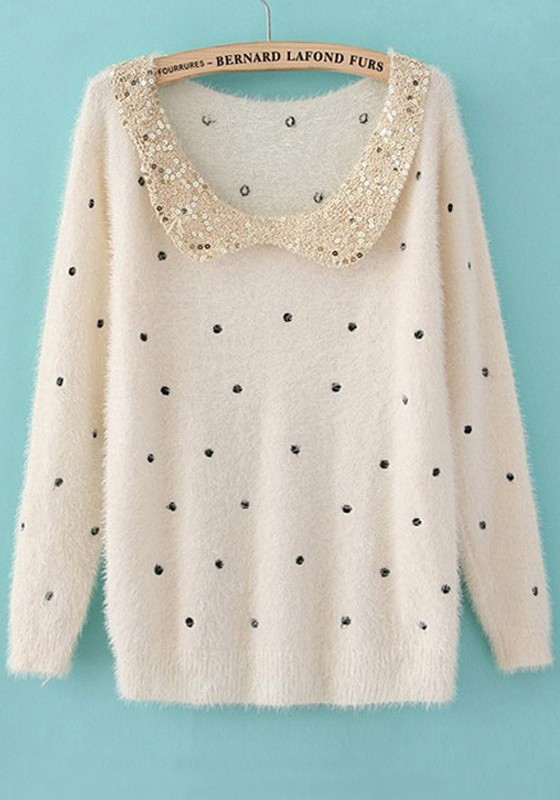 Beige Polka Dot Sequin Wrap Cotton Blend Sweater - Sweaters - Tops