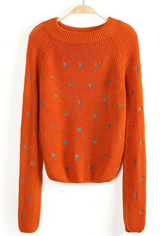 7a4534f01075 Orange Color Block Bow Embroidery Loose Acrylic Sweater - Sweaters - Tops