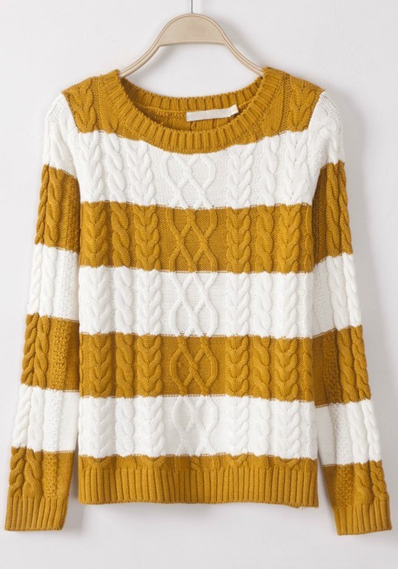 7d80f56895f Yellow Striped Color Block Round Neck Acrylic Sweater - Sweaters - Tops