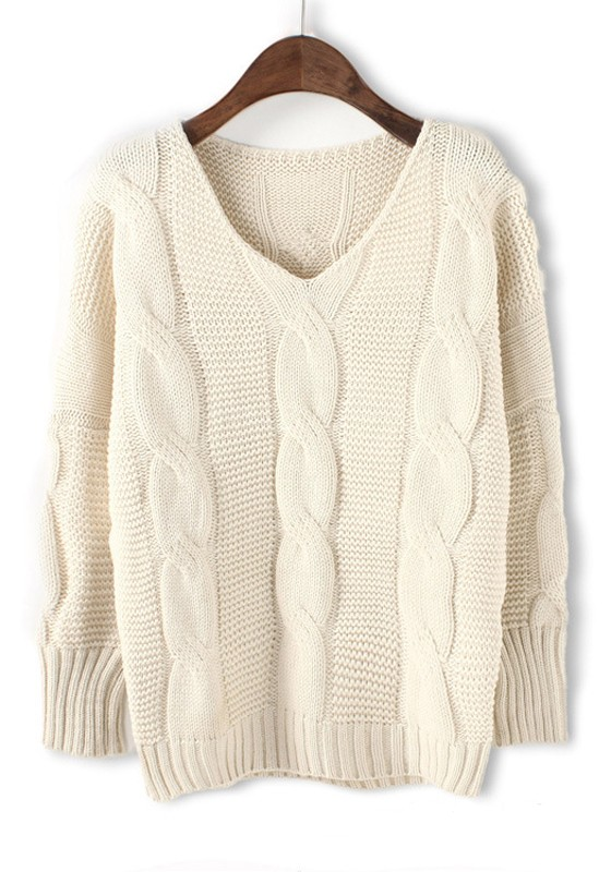 White Plain V-neck Loose Thick Cotton Blend Sweater - Sweaters - Tops