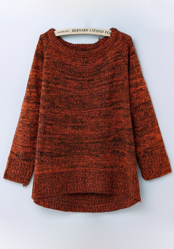 Red Plain Round Neck Loose Thick Cotton Sweater - Sweaters - Tops
