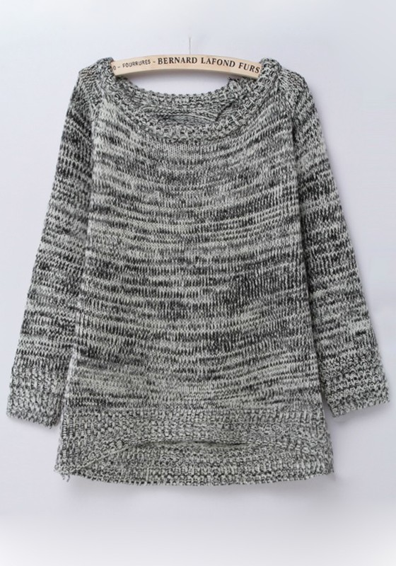 Grey Plain Round Neck Loose Thick Cotton Sweater - Sweaters - Tops
