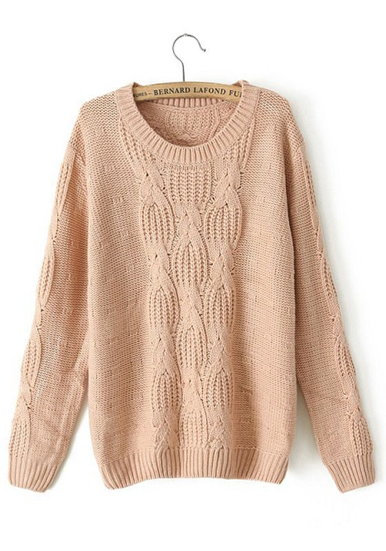 Pink Plain Print Round Neck Thick Cotton Sweater - Sweaters - Tops
