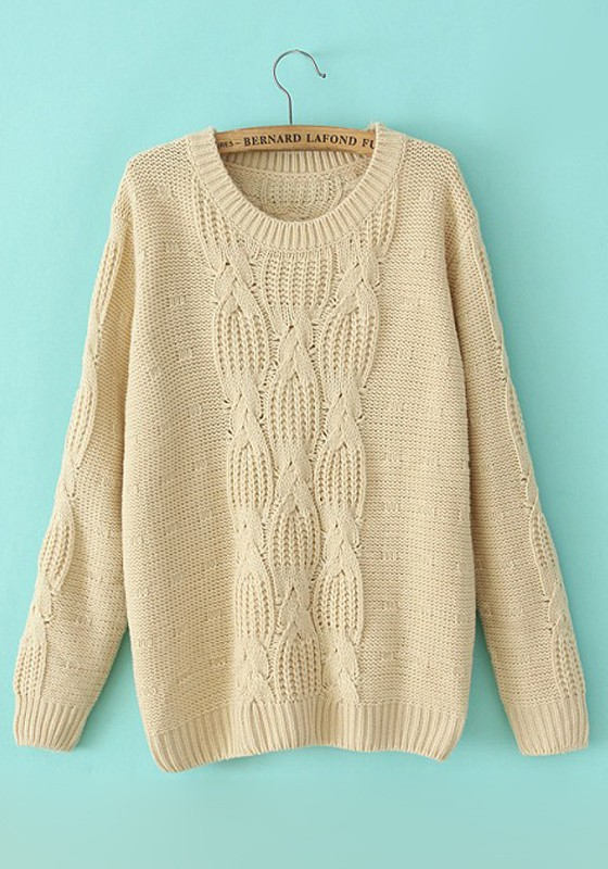 Beige Plain Print Round Neck Thick Cotton Sweater - Sweaters - Tops