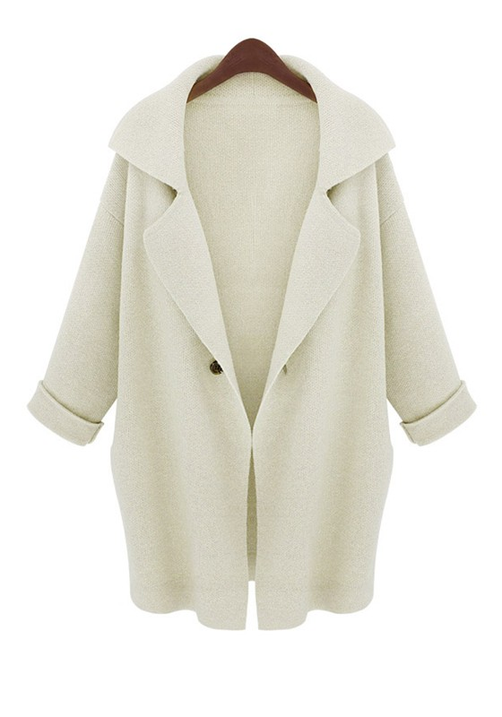 Creamy-white Lapel Seven's Sleeve Loose Wool Cardigan - Cardigans ...