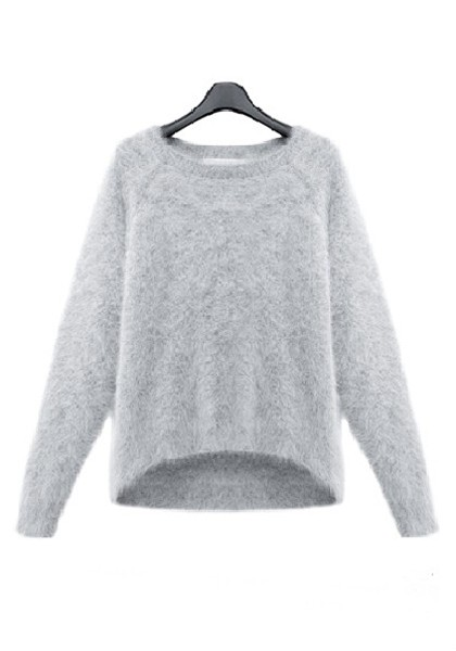 Grey Mink Cashmere Round Neck Thick Wool Sweater - Sweaters - Tops