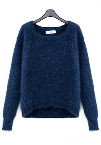 Blue Mink Cashmere Round Neck Thick Wool Sweater - Sweaters - Tops