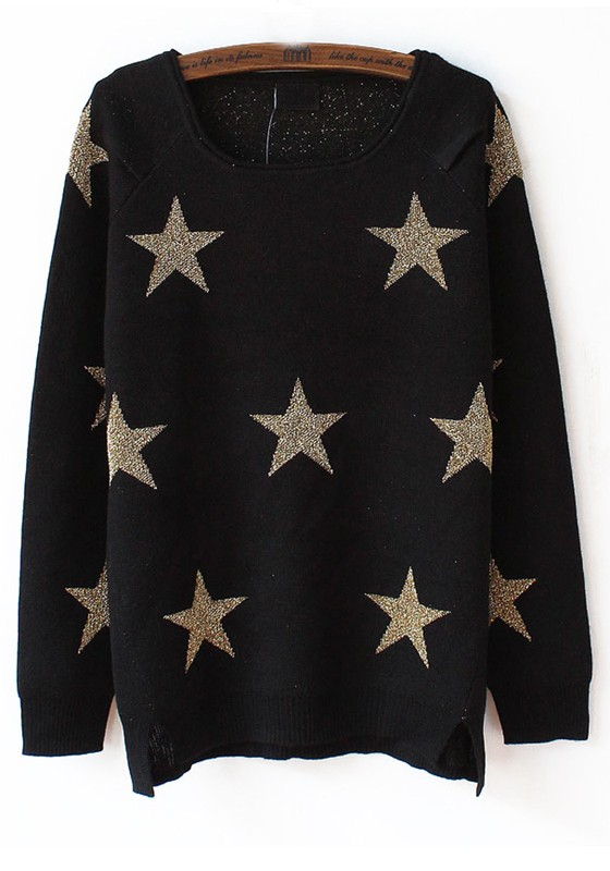 Black Stars Round Neck Loose Cotton Sweater - Sweaters - Tops