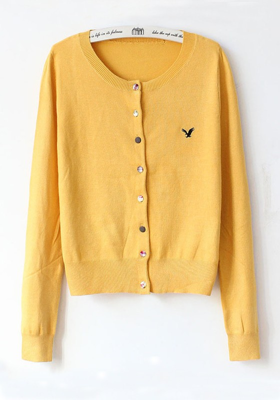 Yellow Plain Single Breasted Cotton Blend Cardigan - Cardigans ...