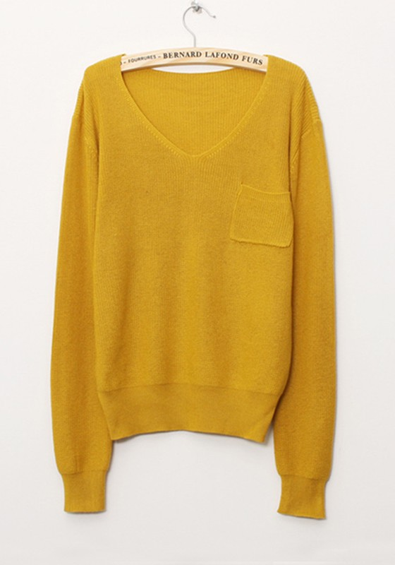 Yellow Plain V-neck Loose Cotton Blend Sweater - Sweaters - Tops