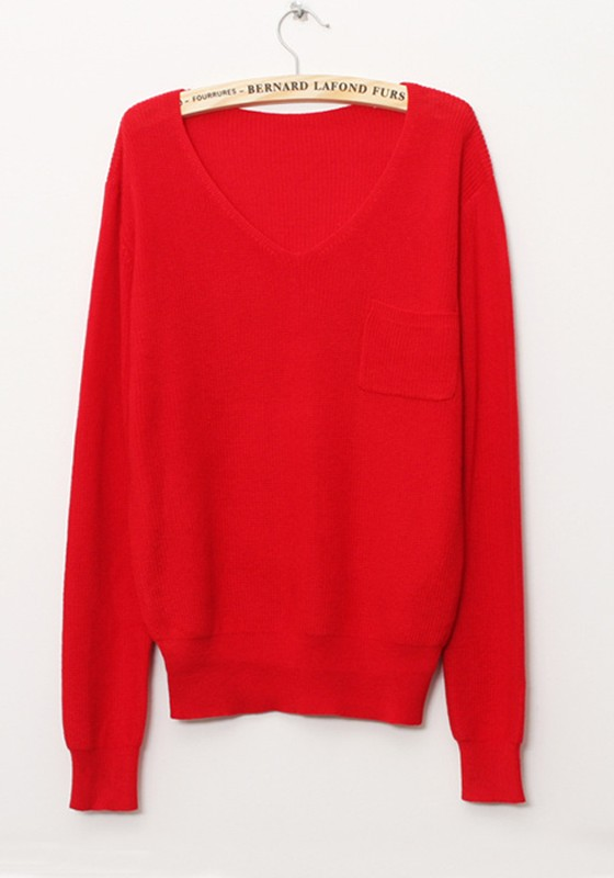 Red Plain V-neck Loose Cotton Blend Sweater - Sweaters - Tops