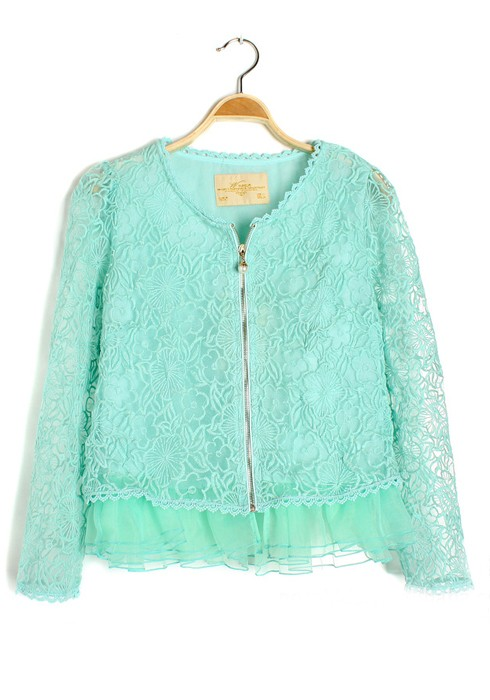 Blue Hollow-out Round Neck Nine's Sleeve Lace Cardigan - Cardigans ...