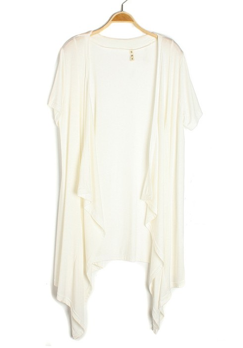 White Irregular Collarless Short Sleeve Cotton Blend Cardigan ...