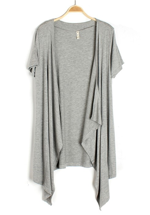 Grey Irregular Collarless Short Sleeve Cotton Blend Cardigan ...