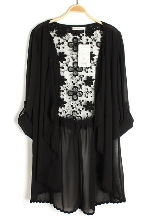 Black Patchwork Irregular Embroidery Lace Chiffon Cardigan ...
