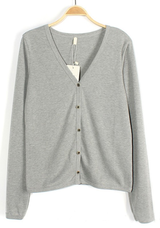Light Grey Single Breasted V-neck Cotton Blend Cardigan ...