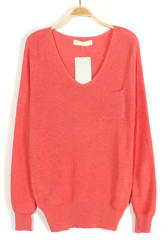 Pink Plain Pockets V-neck Loose Knit Sweater - Sweaters - Tops
