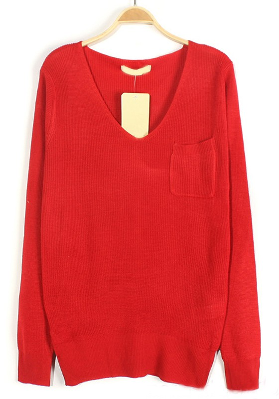 Red Plain Pockets V-neck Loose Knit Sweater - Sweaters - Tops