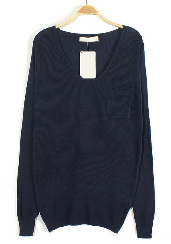 Navy Blue Plain Pockets V-neck Loose Knit Sweater - Sweaters - Tops