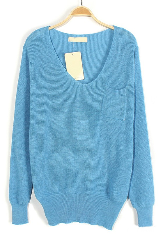 Sky Blue Plain Pockets V-neck Loose Knit Sweater - Sweaters - Tops