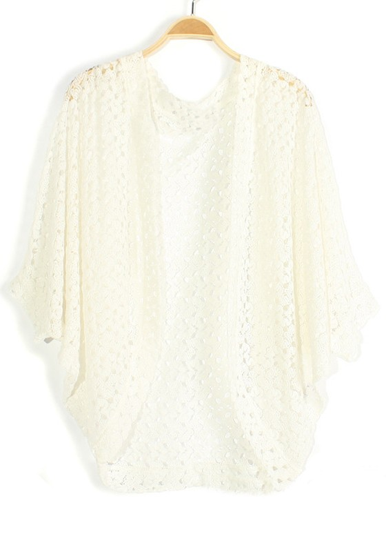 White Hollow-out Bat Sleeve Loose Knit Cardigan - Cardigans ...