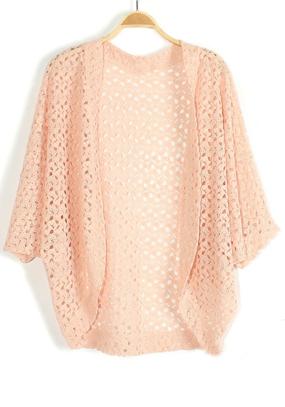 Pink Hollow-out Bat Sleeve Loose Knit Cardigan - Cardigans ...