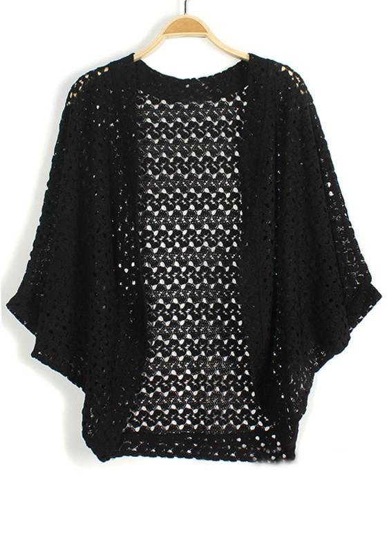 e3614a0a99a9e Black Hollow-out Bat Sleeve Loose Knit Cardigan - Cardigans - Sweaters -  Tops