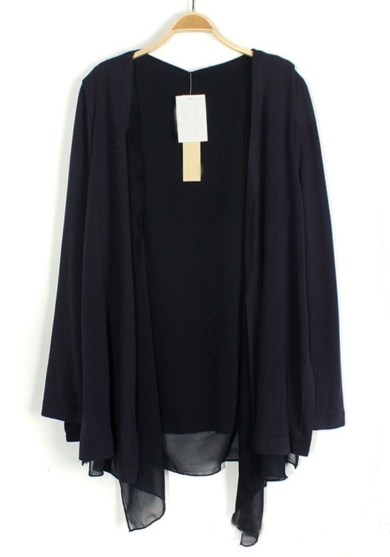 Navy Blue Patchwork Irregular Long Sleeve Thin Blend Cardigan ...