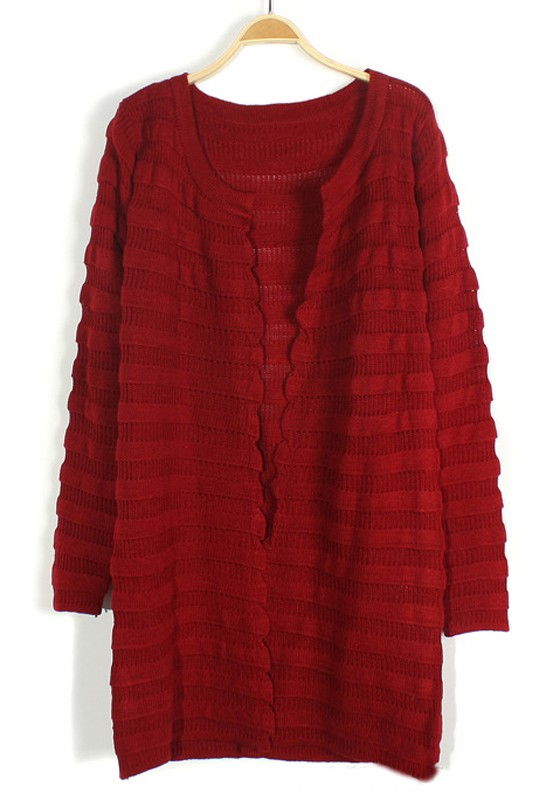 509653c6d Dark Red Striped Wavy Edge Loose Cotton Cardigan - Cardigans - Sweaters -  Tops
